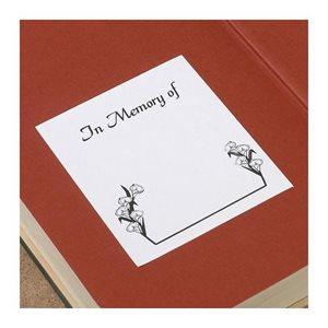 Ex-libris à dos adhésif avec motif Lily et texte « En mémoire de »